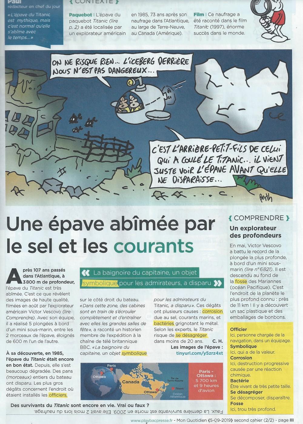 """Articles sur le Titanic dans """"Mon Quotidien"""" (2019) Quotid13"""