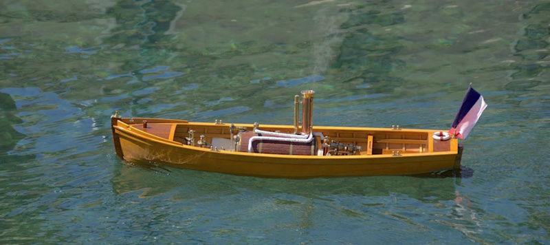 Chaloupe à Vapeur / Chaudière horizontale et moteur doube cylindre. Captu254