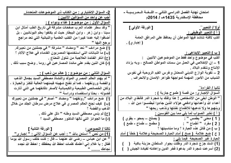 اختبار اسكندرية  2014 000111