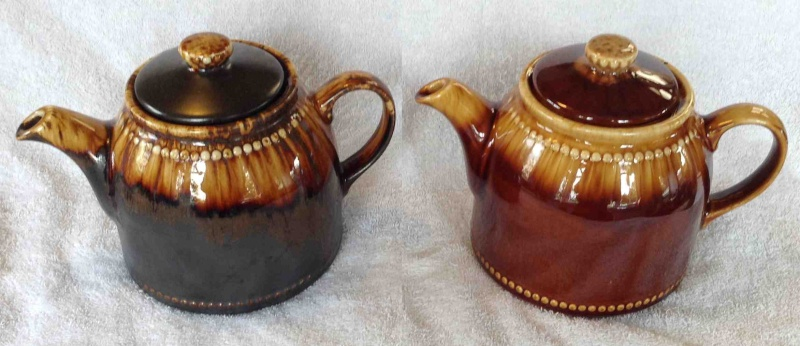 "Three Titianware ""Country Fair"", ""Bobbles"" teapots in the same glaze: 1354 1404 1435 2cftea10"