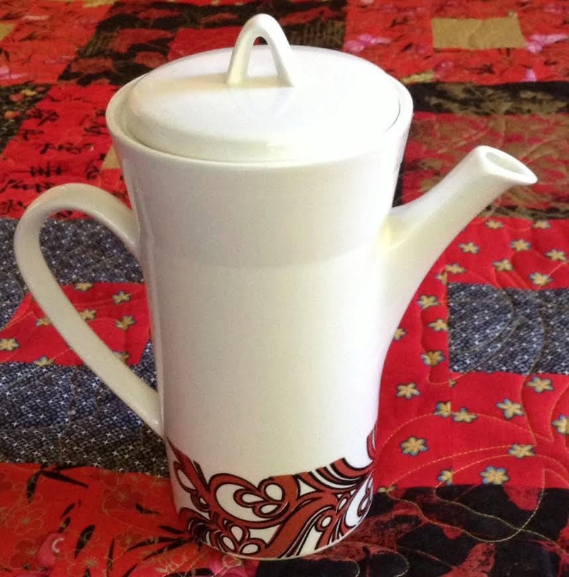 tall Forma coffee pot with RED version of Purple Myrtle Myrtle10