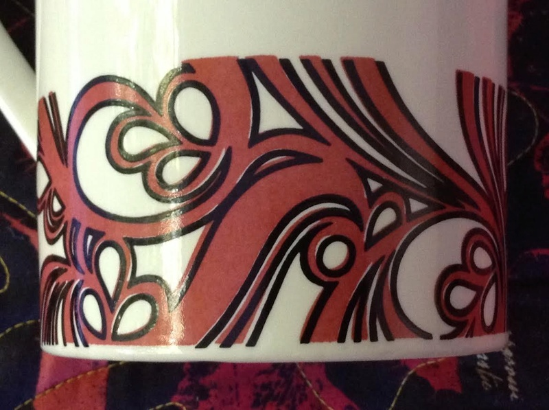 tall Forma coffee pot with RED version of Purple Myrtle Myrtle12