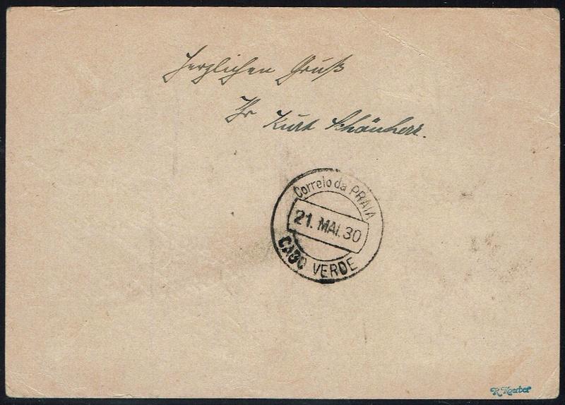 nach - Südamerikafahrt 1930, Post nach Praia (Kapverdische Inseln) 57_aa_11