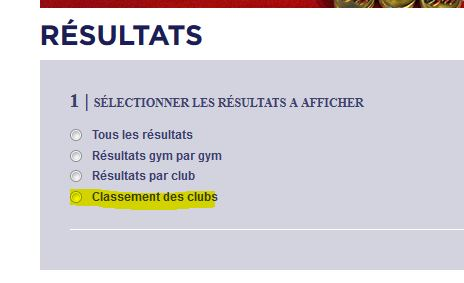 Classement des gymnastes / des clubs Clubs10