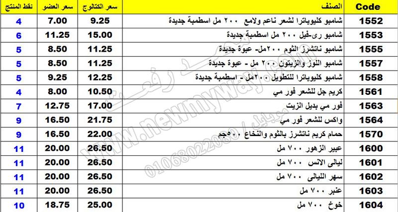 بيان اسعار منتجات ماى واى في شهر مارس 2017  << سعر الكتالوج - سعر العضو - عدد النقاط >> 9_o12