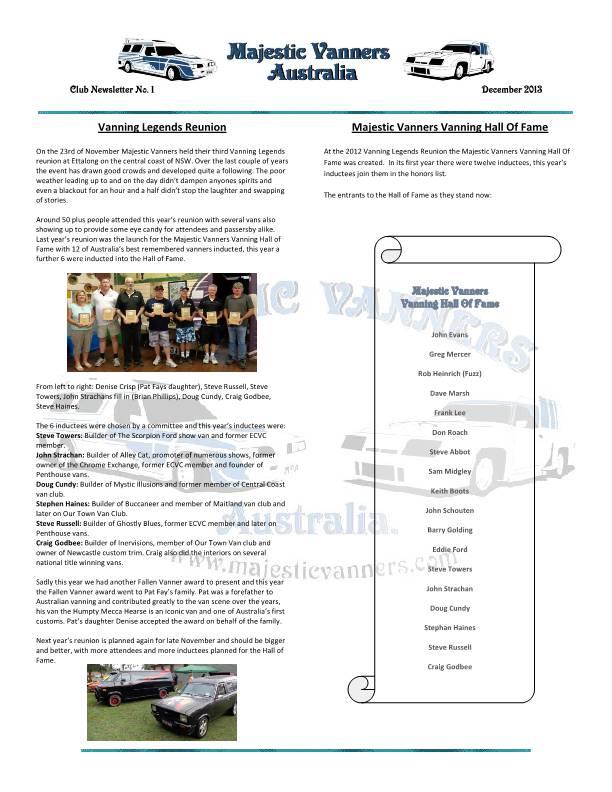 Majestic Vanners Newsletter No.1 December 2013 Mv_new13