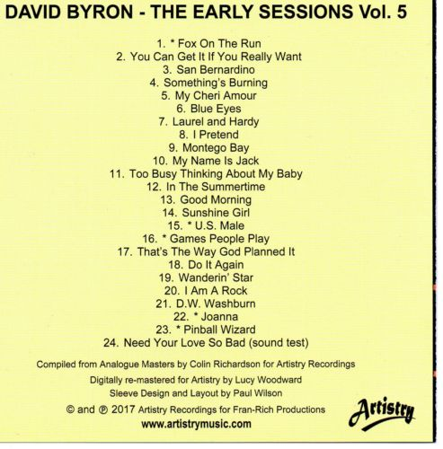 THE EARLY SESSIONS VOL 2 LIMITED EDITION NEW V_510