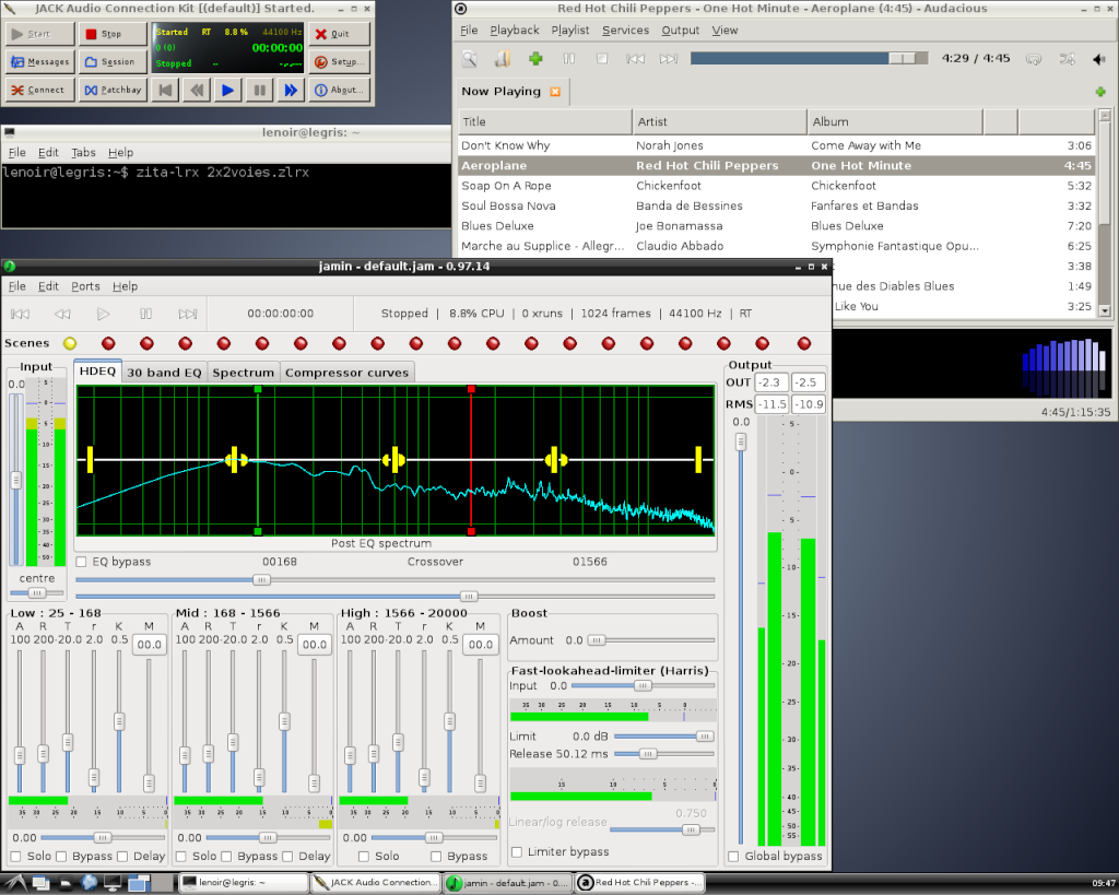 Install Jack + Zita-lrx + Jamin + Audacious sur Linux/Debian 14-pla10