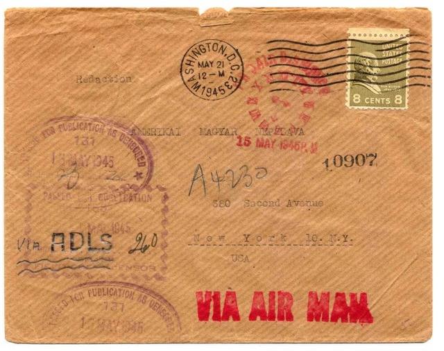 Contrôle de la Presse, expéditeur de Paris pour New York 1945. Adsl_110