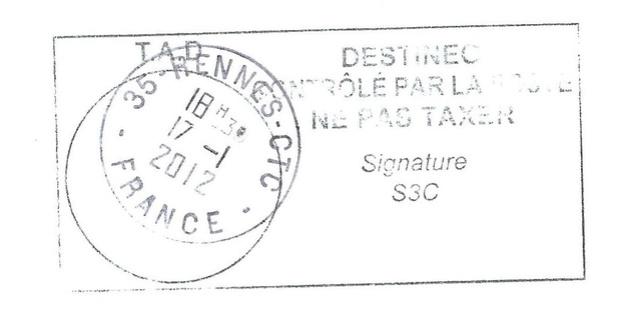 Contrôle postal à Rennes... 2012 Destin12