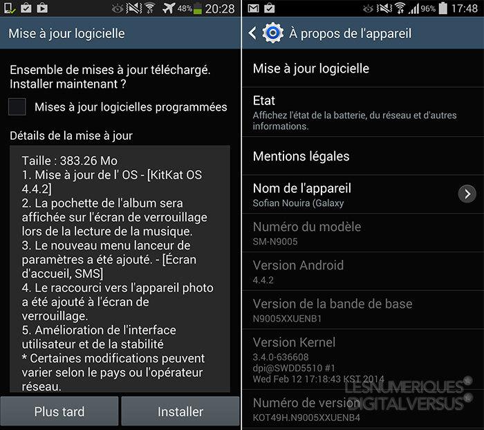Galaxy Note 3 : la mise à jour Android 4.4 KitKat arrive en France  Mise-a10