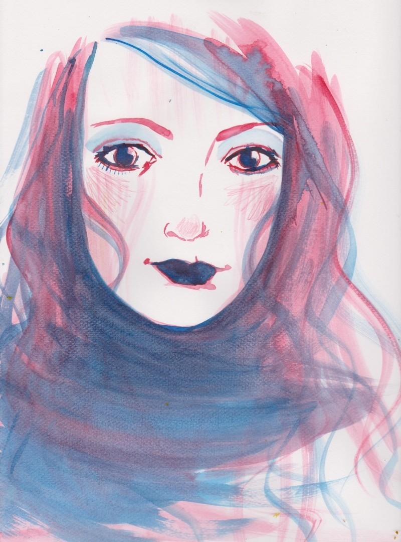 portrait aquarelle rose bleu [noony4] 00110