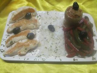 Aiguillettes de poulet aux poivrons et accompagner  de riz. + photos. 10289810