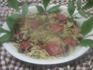Spaghettis aux légumes et salami + photos. 19221010