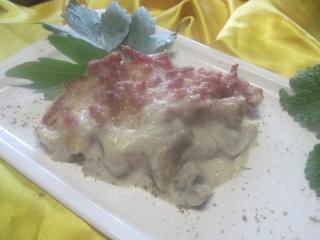 Champignons et bacon à la béchamel gratinés + photos. Img_1613