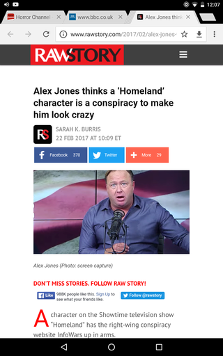 Alex Jones thinks a 'Homeland' character is a conspiracy to make him look crazy Screen12