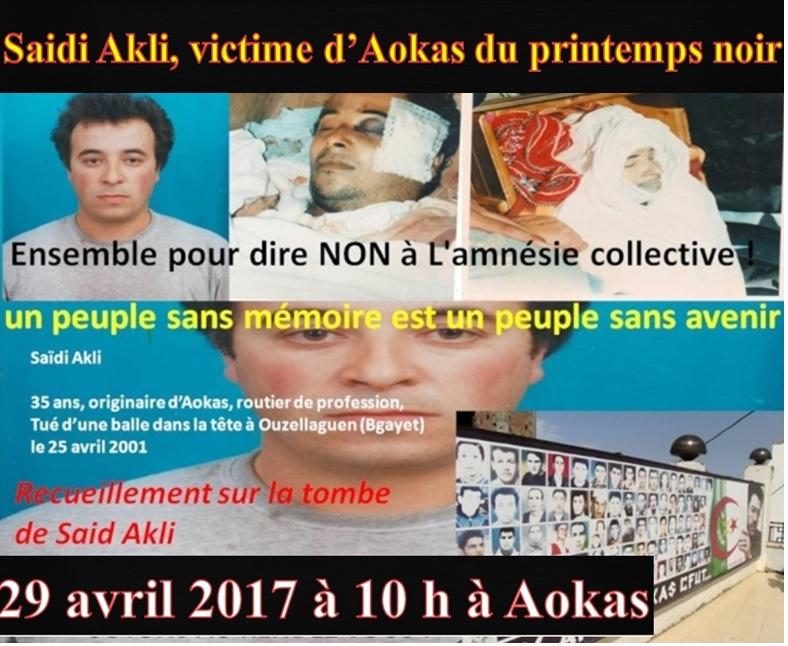 Recueillement le 29 avril 2014 sur la tombe de Saidi Akli à Aokas. Victim10