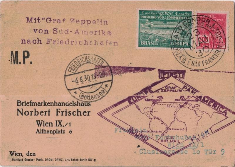 """nach - Südamerikafahrt 1930 (Rundfahrt-) Post nach Friedrichshafen"""" - Seite 7 Franci10"""