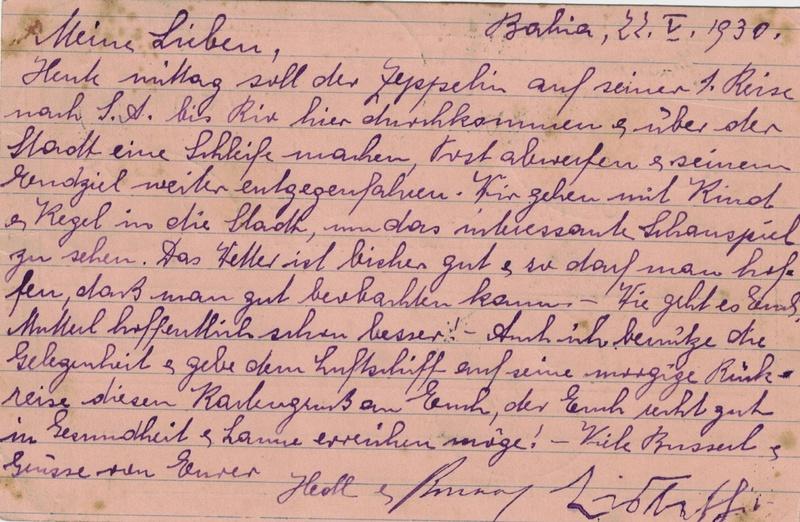 """nach - Südamerikafahrt 1930 (Rundfahrt-) Post nach Friedrichshafen"""" - Seite 7 Recife13"""