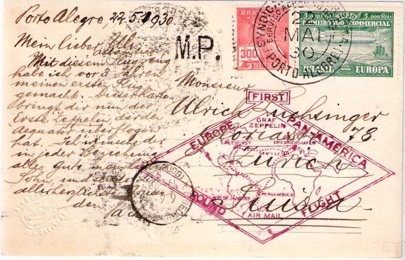 """Südamerikafahrt 1930 (Rundfahrt-) Post nach Friedrichshafen"""" - Seite 4 Scanne42"""