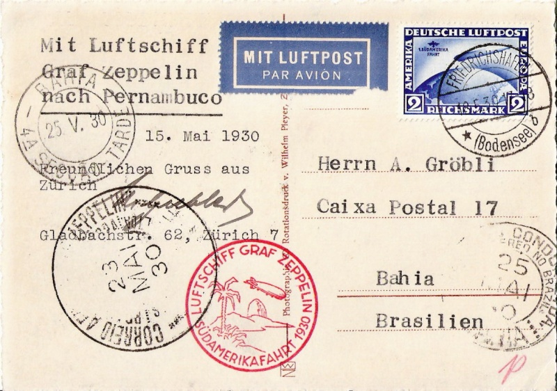 Südamerikafahrt 1930, Post nach (Salvador de) Bahia Scanne64