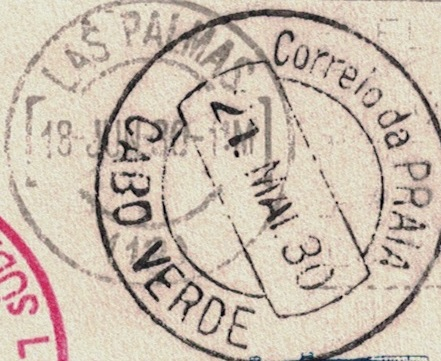 nach - Südamerikafahrt 1930, Post nach Praia (Kapverdische Inseln) Schwei10