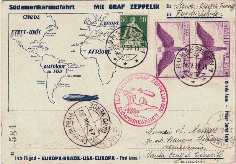 nach - Südamerikafahrt 1930, Post nach Praia (Kapverdische Inseln) Schwei11