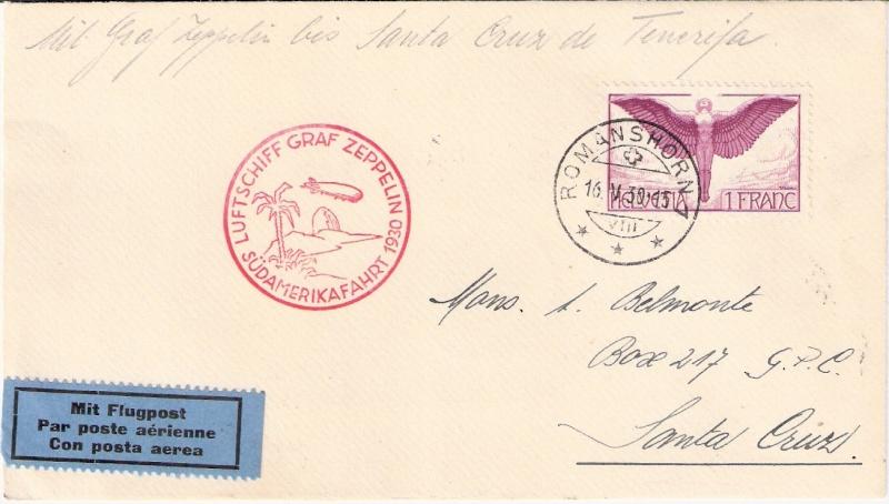 nach - Südamerikafahrt 1930, Post nach Praia (Kapverdische Inseln) Sieger10