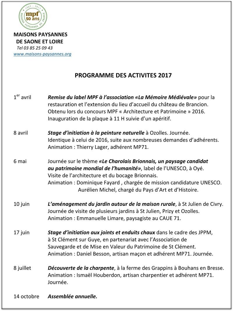 PROGRAMME DES ACTIVITES 2017 - MAISONS PAYSANNES 71 112