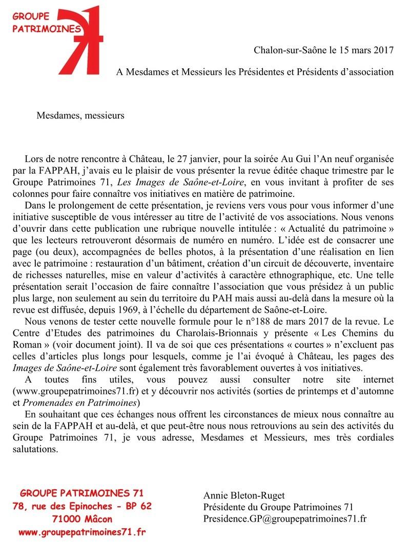 Actualités Groupe Patrimoines71/FAPPAH mars 2017 123