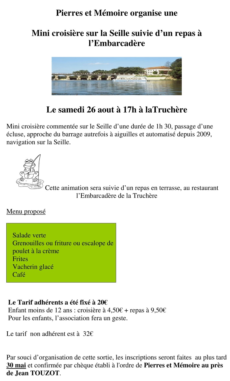 Mini croisière sur la Seille et repas à l'Embarcadère Le samedi 26 août à 17 heurs à la Truchère 148