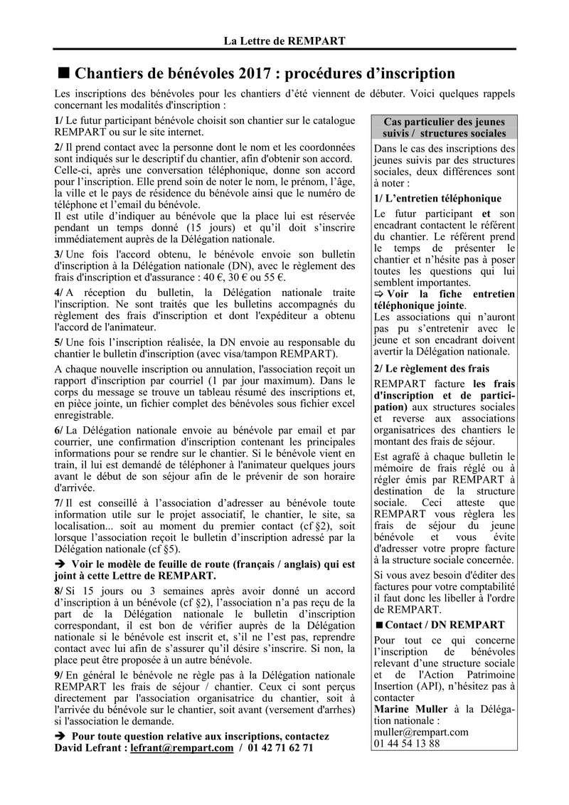 La lettre de REMPART n°352, mars 2017  Feuilles de route et fiche d'entretien téléphonique avec les jeunes 213