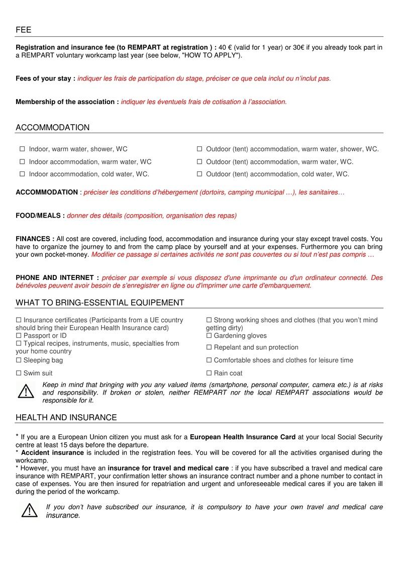 La lettre de REMPART n°352, mars 2017  Feuilles de route et fiche d'entretien téléphonique avec les jeunes 215