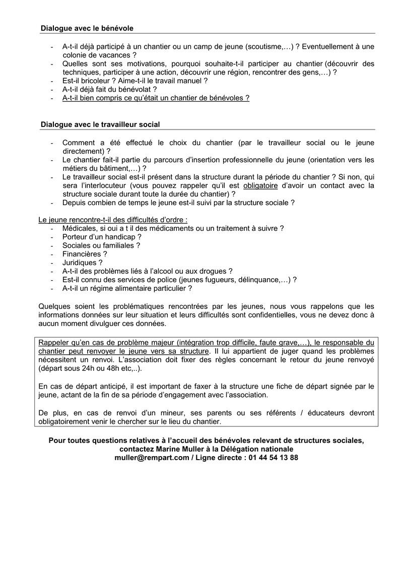 La lettre de REMPART n°352, mars 2017  Feuilles de route et fiche d'entretien téléphonique avec les jeunes 216