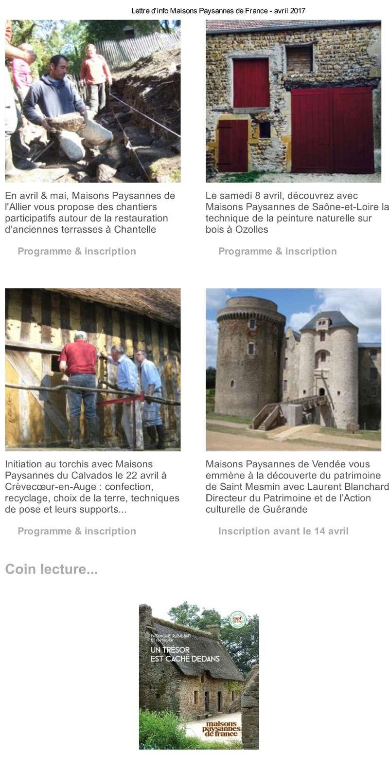 Lettre d'info Maisons Paysannes de France - avril 2017 220