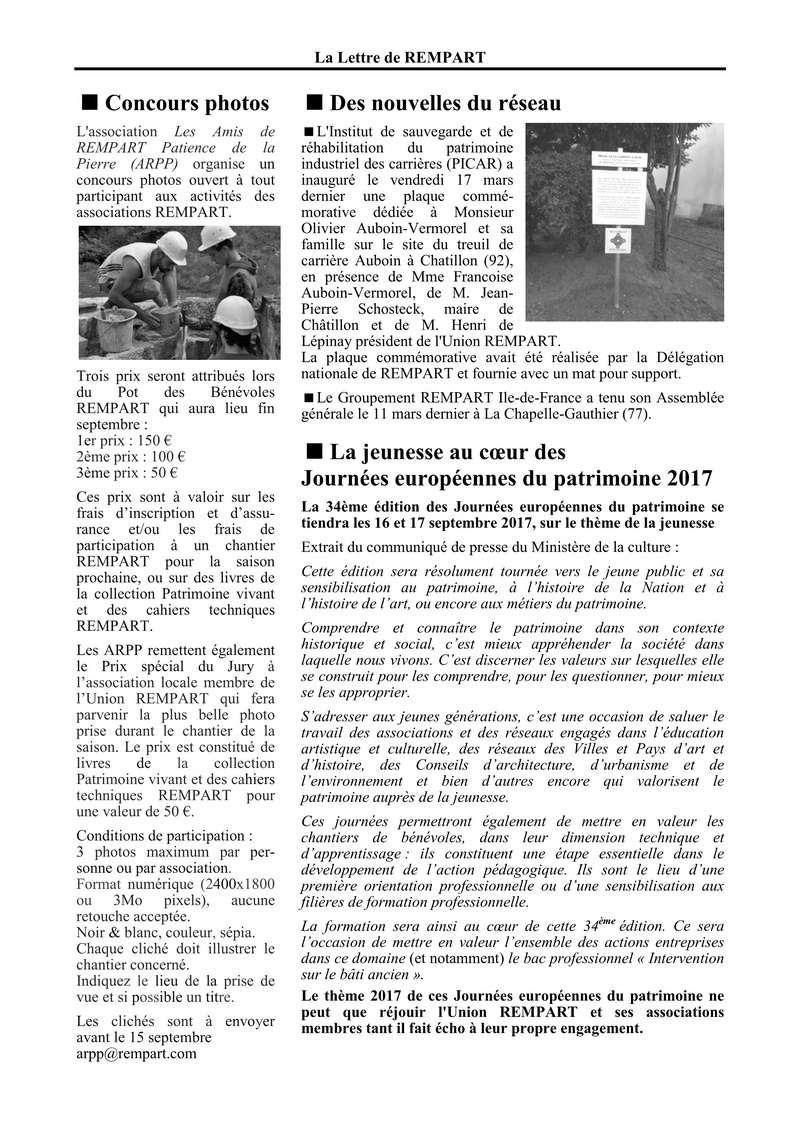 La lettre de REMPART n°352, mars 2017  Feuilles de route et fiche d'entretien téléphonique avec les jeunes 810