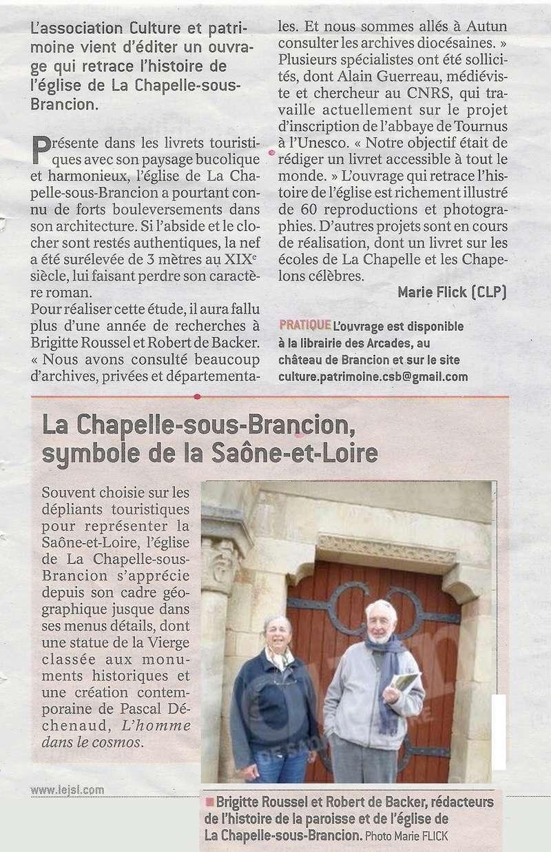 """jsl LES DOSSIERS DE """"CULTURE ET PATRIMOINE"""" N°2, L'église et la paroisse de la Chapelle-sous-Brancion (disponible en mairie du même lieu). L_eigl11"""
