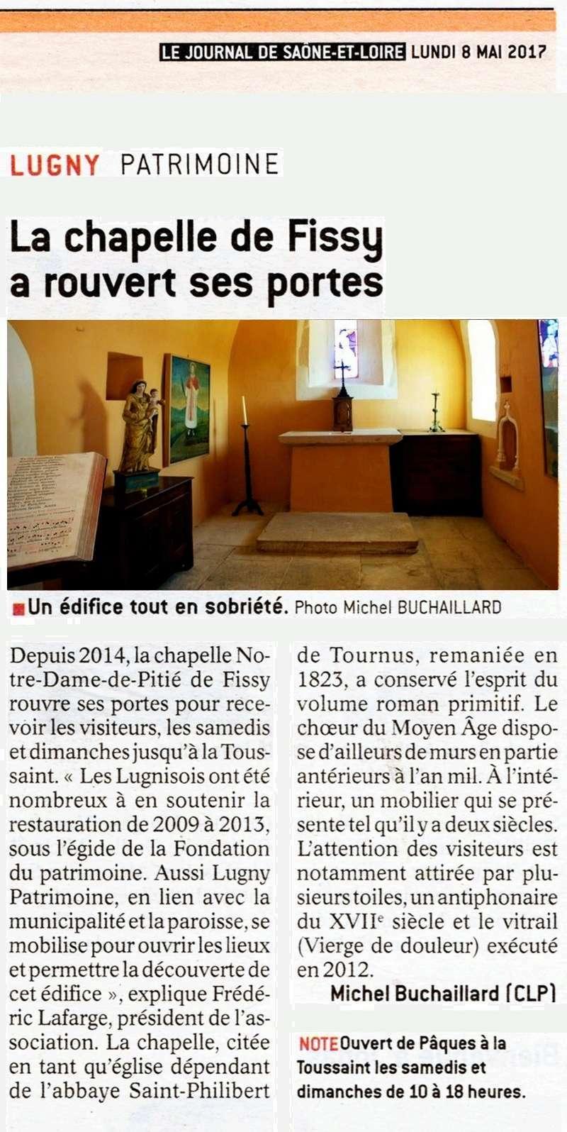 """Lugny : """"La chapelle de Fissy a rouvert ses portes"""" (""""Le JSL"""" du lundi 8 mai 2017). Lugny_17"""