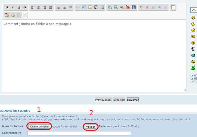 Comment joindre un fichier à son message (réservé uniquement aux membres actifs) Joindr11