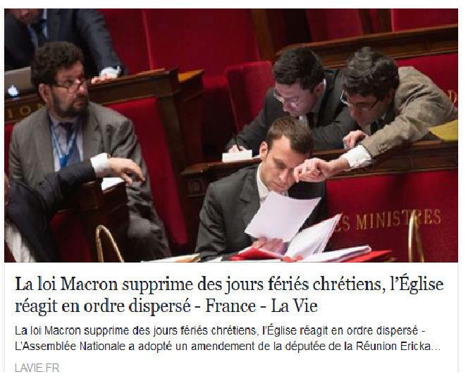 La loi Macron supprime des jours fériés chrétiens, l'Église réagit en ordre dispersé Macron11