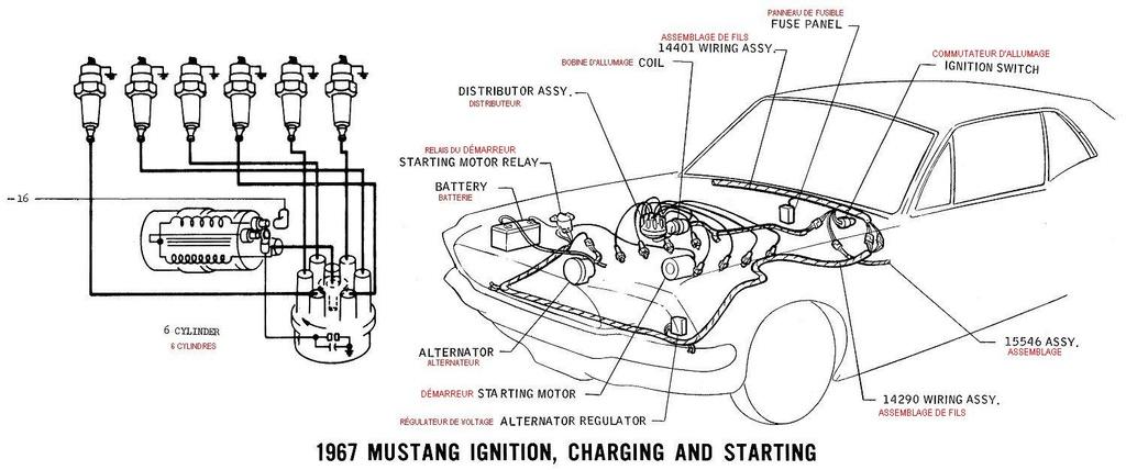 sch u00e9ma et diagramme  u00e9lectrique en fran u00e7ais pour la mustang 1967