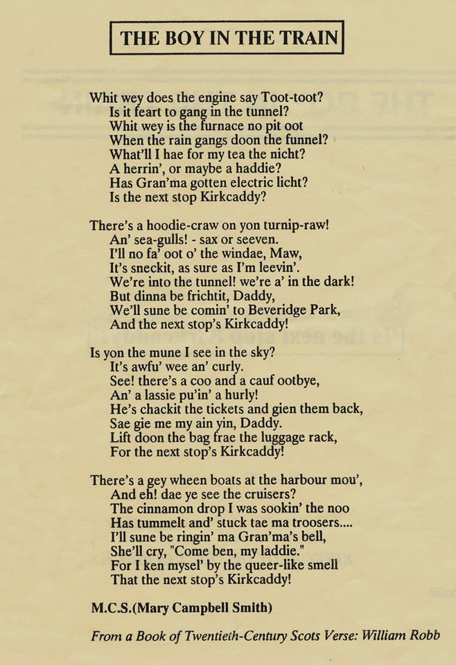 Wee poem about a train trip to Kirkcaldy. 17425910