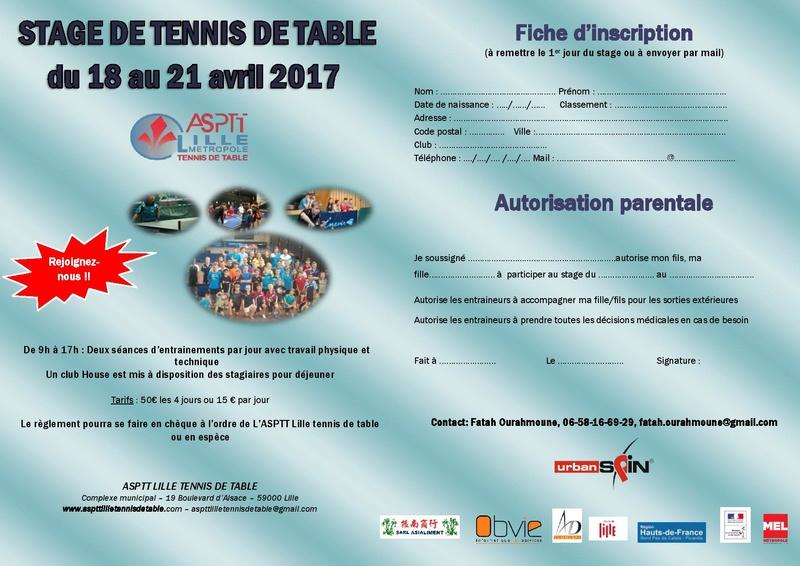 Stage de perfectionnement à l'ASPTT Lille du 18 au 21 avril Affich11