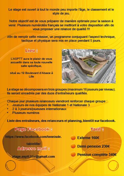 5ème stage international du 21 au 25 août à l'ASPTT Lille Plaque10