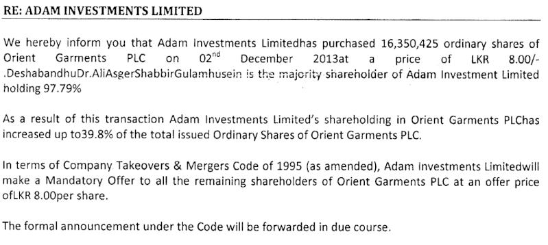 Adam Investments make mandatory offer on Orient Garments Adam10