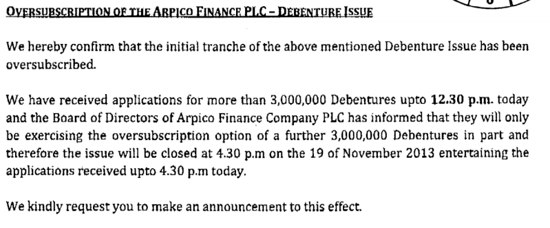 Arpico Finance Debenture Issue at a glance Arpi10