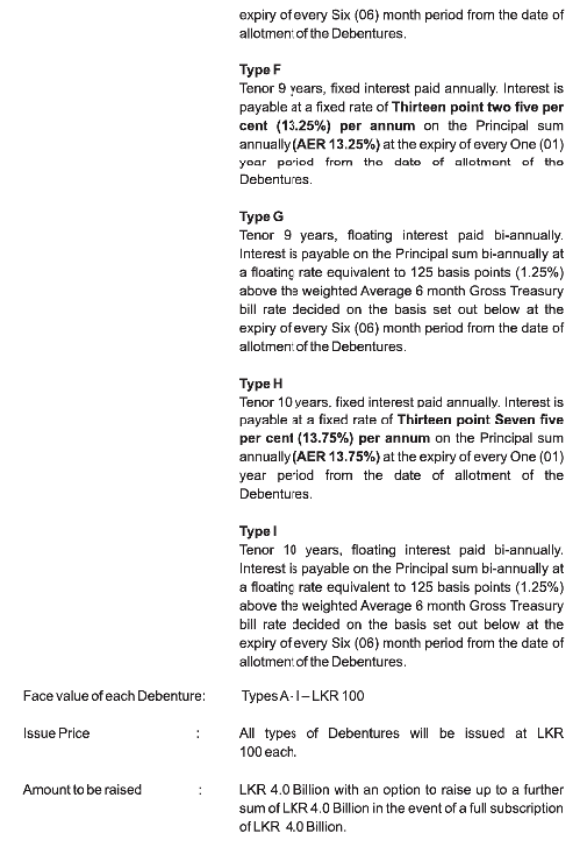 Bank of Ceylon - Debenture Issue Boc210