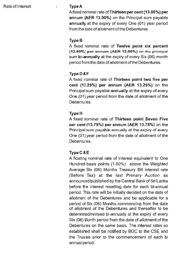 Bank of Ceylon - Debenture Issue Boc310