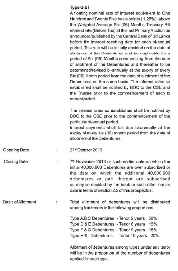 Bank of Ceylon - Debenture Issue Boc410