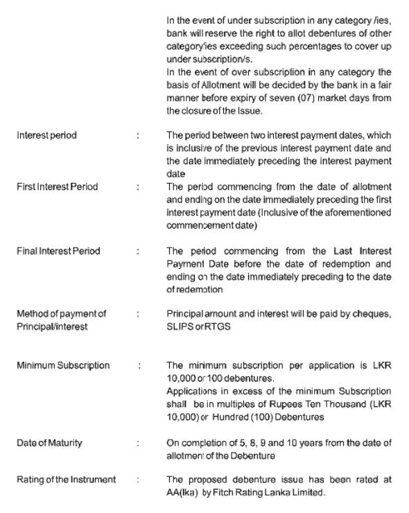 Bank of Ceylon - Debenture Issue Boc510